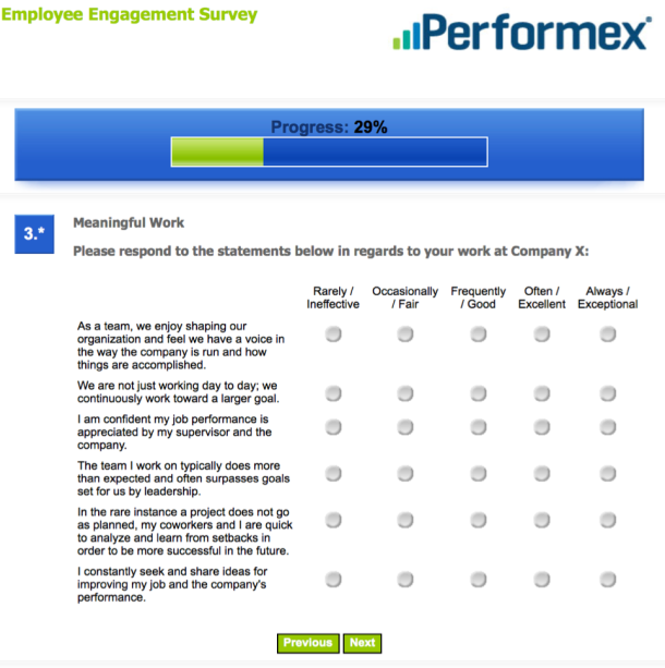 Employee Engagement Survey Questions - Meaningful Work